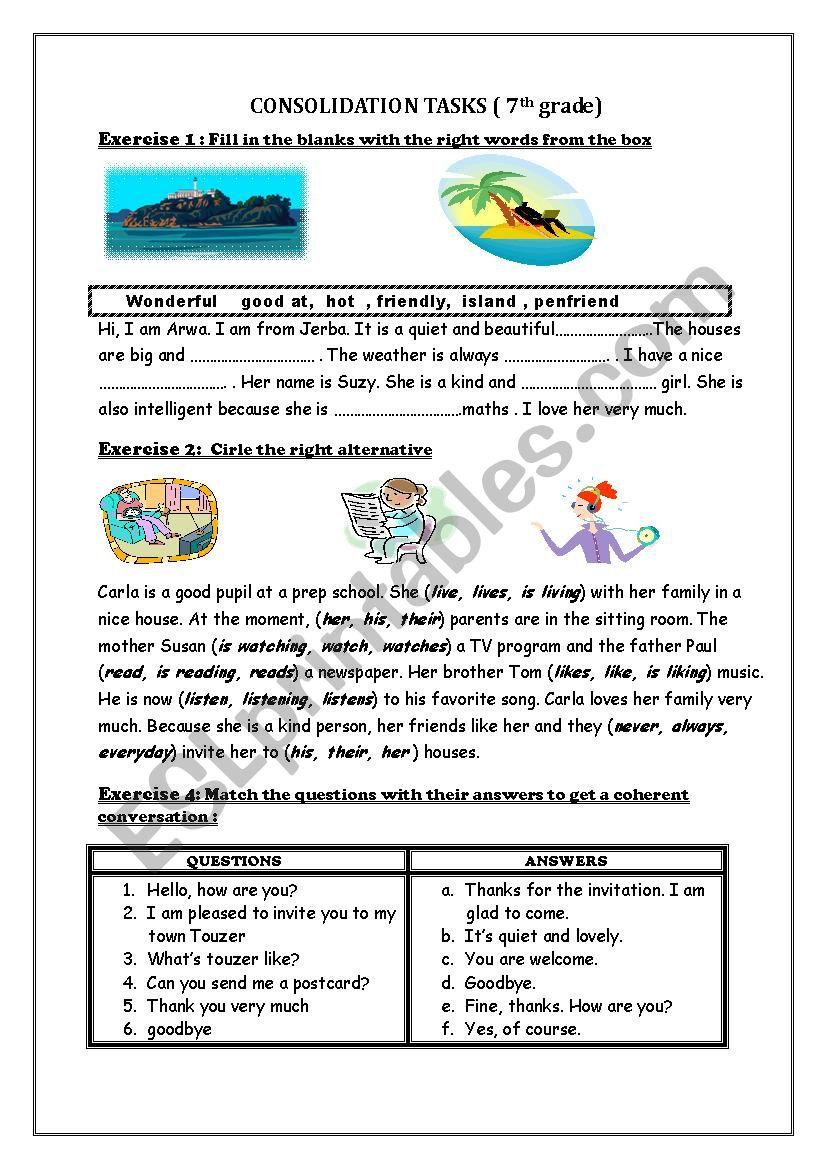 consolidation tasks ( 7th grade)