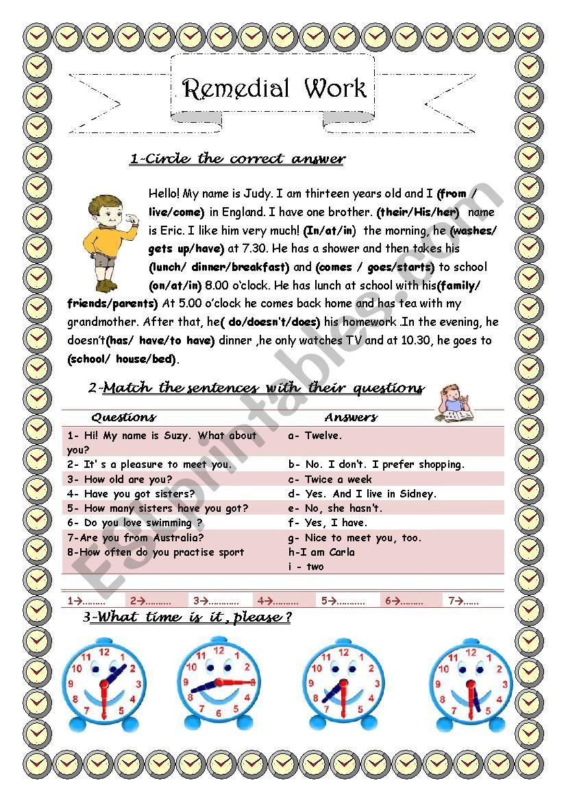 7th Form Remedial Work N 1 worksheet