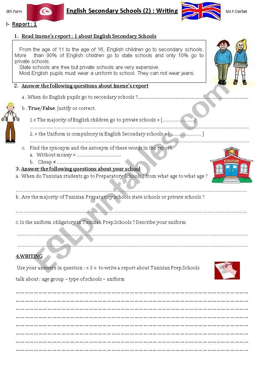 English Secondary Schools 2. Writing reports