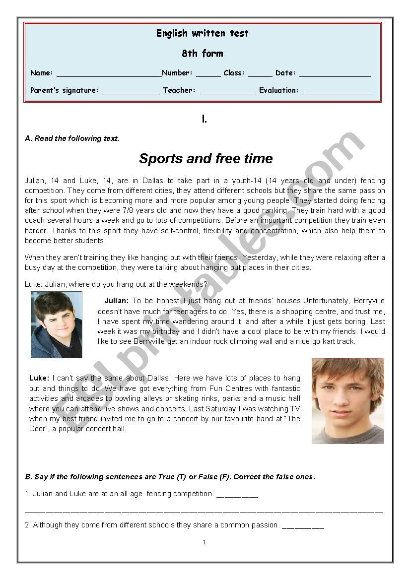 8th grade - Hang out and free time activities - ESL worksheet by