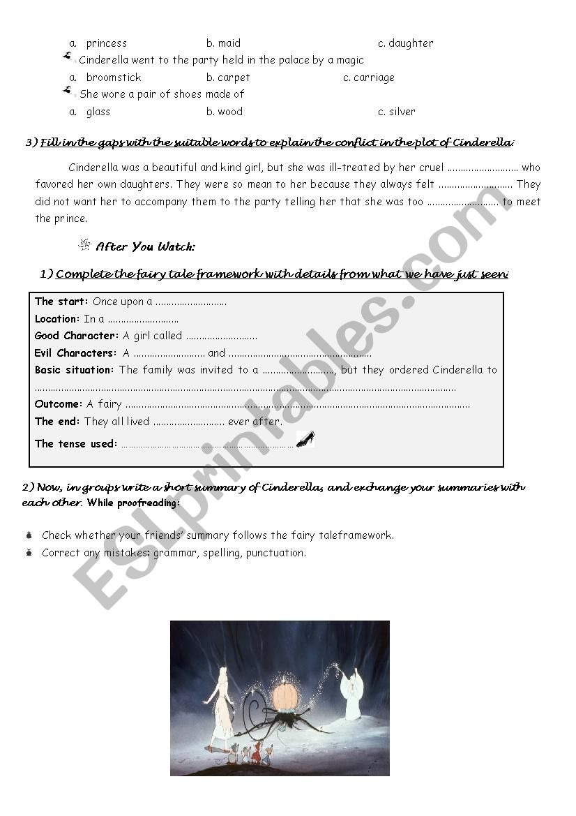 lesson A2,fairy tales 2nd year - ESL worksheet by sonitto