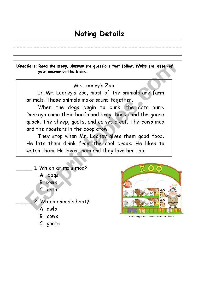 noting details - ESL worksheet by lalainee