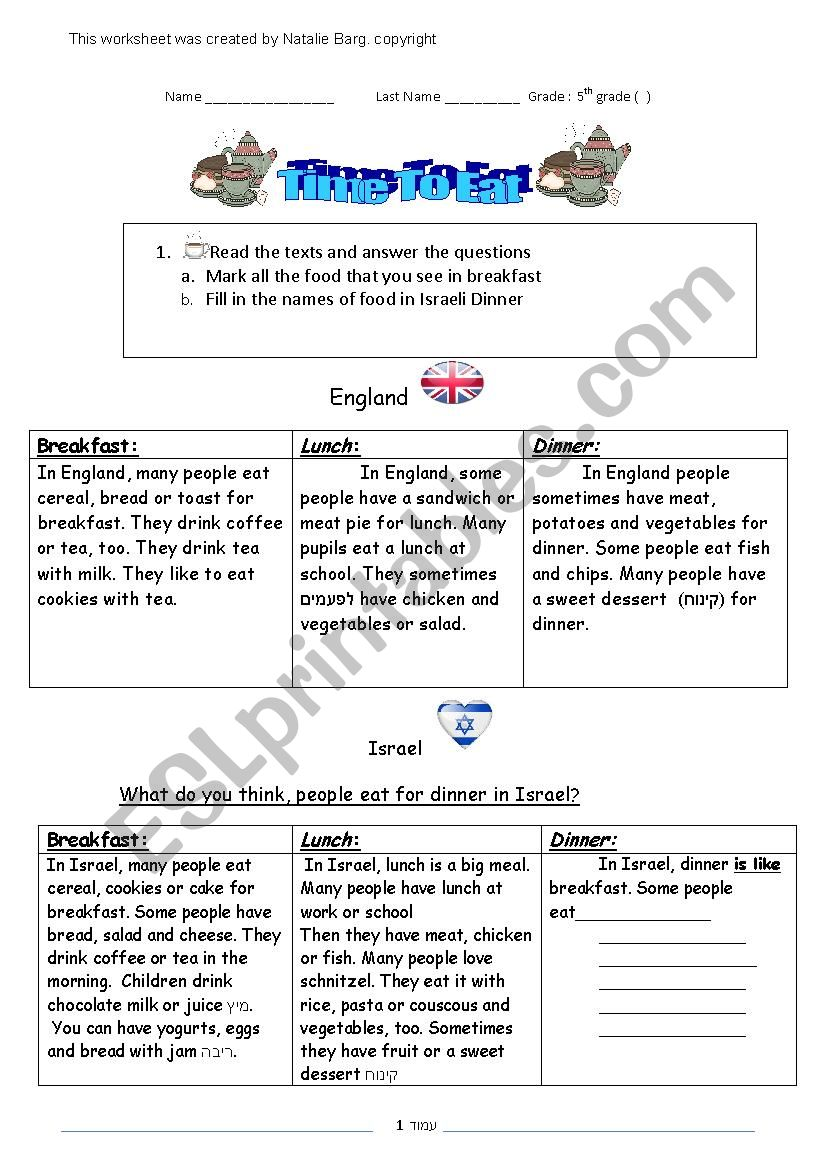 Meals Of The Day  worksheet