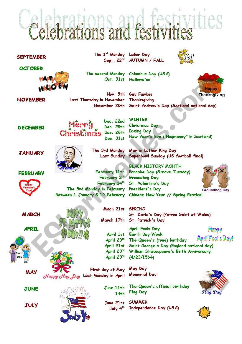 Celebrations and festivities worksheet
