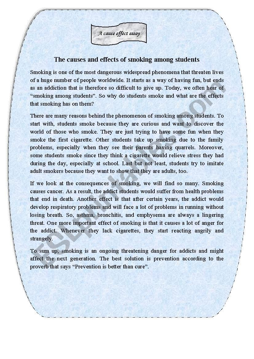 The Causes And Effects Of Smoking Among Students Esl Worksheet By