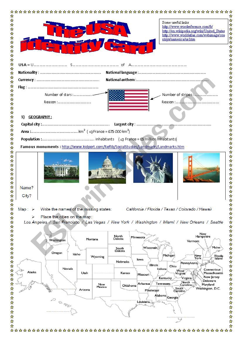 Webquest THE USA worksheet