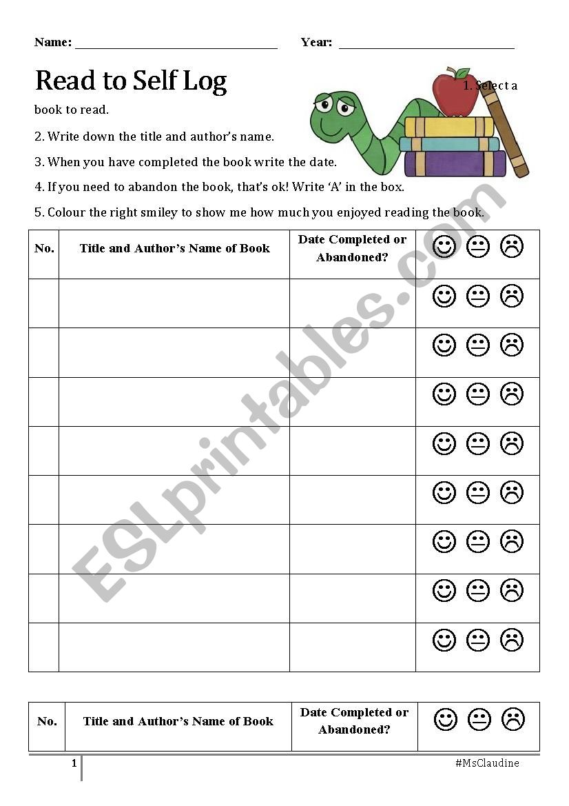 Read to Self Reading Log worksheet