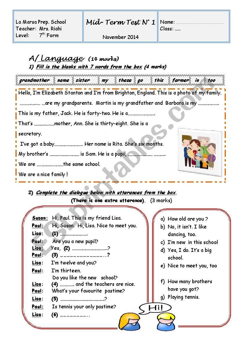 Mid-Term Test N°1 worksheet