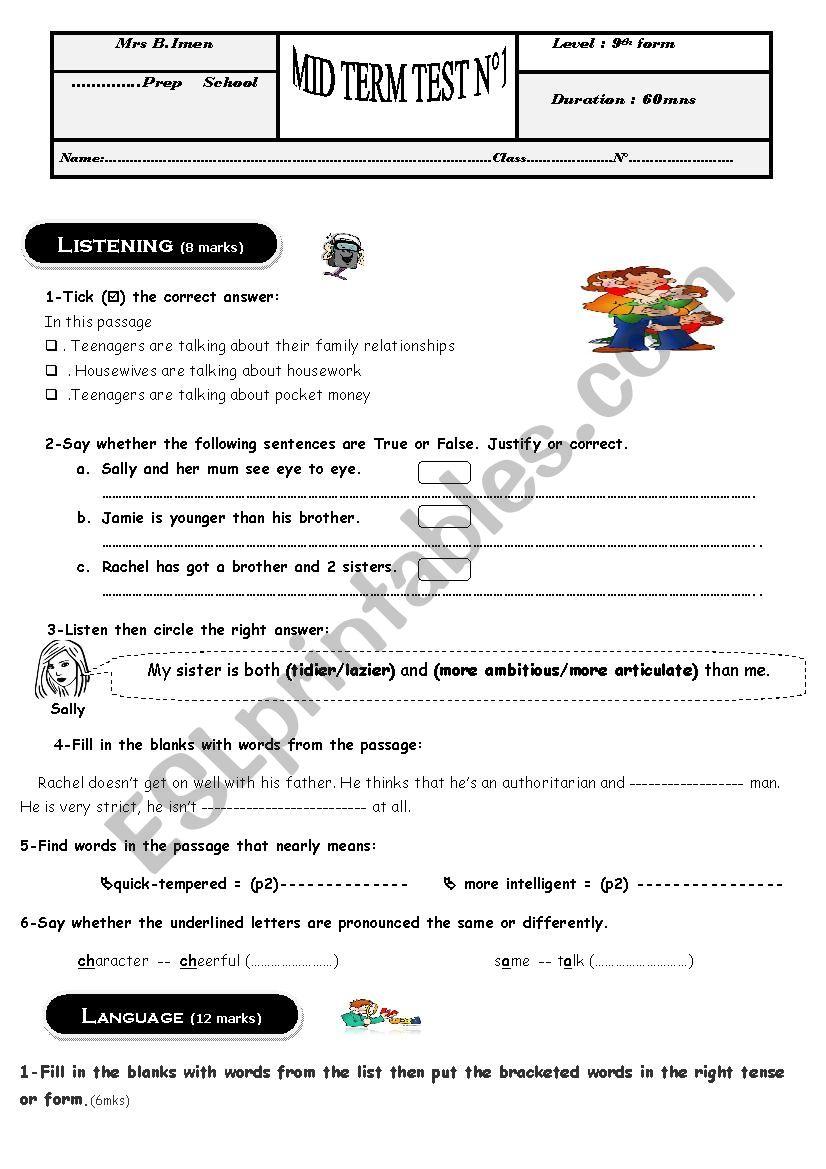 9th form test nb1 worksheet