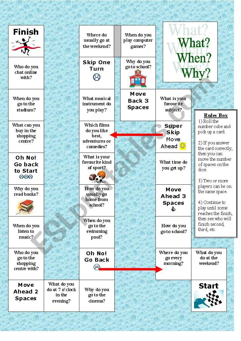 Board Game: What When Why worksheet