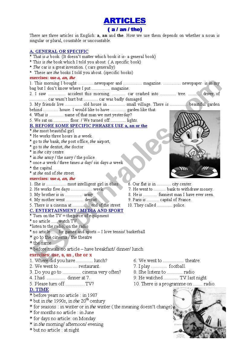 articles- an /an /the worksheet