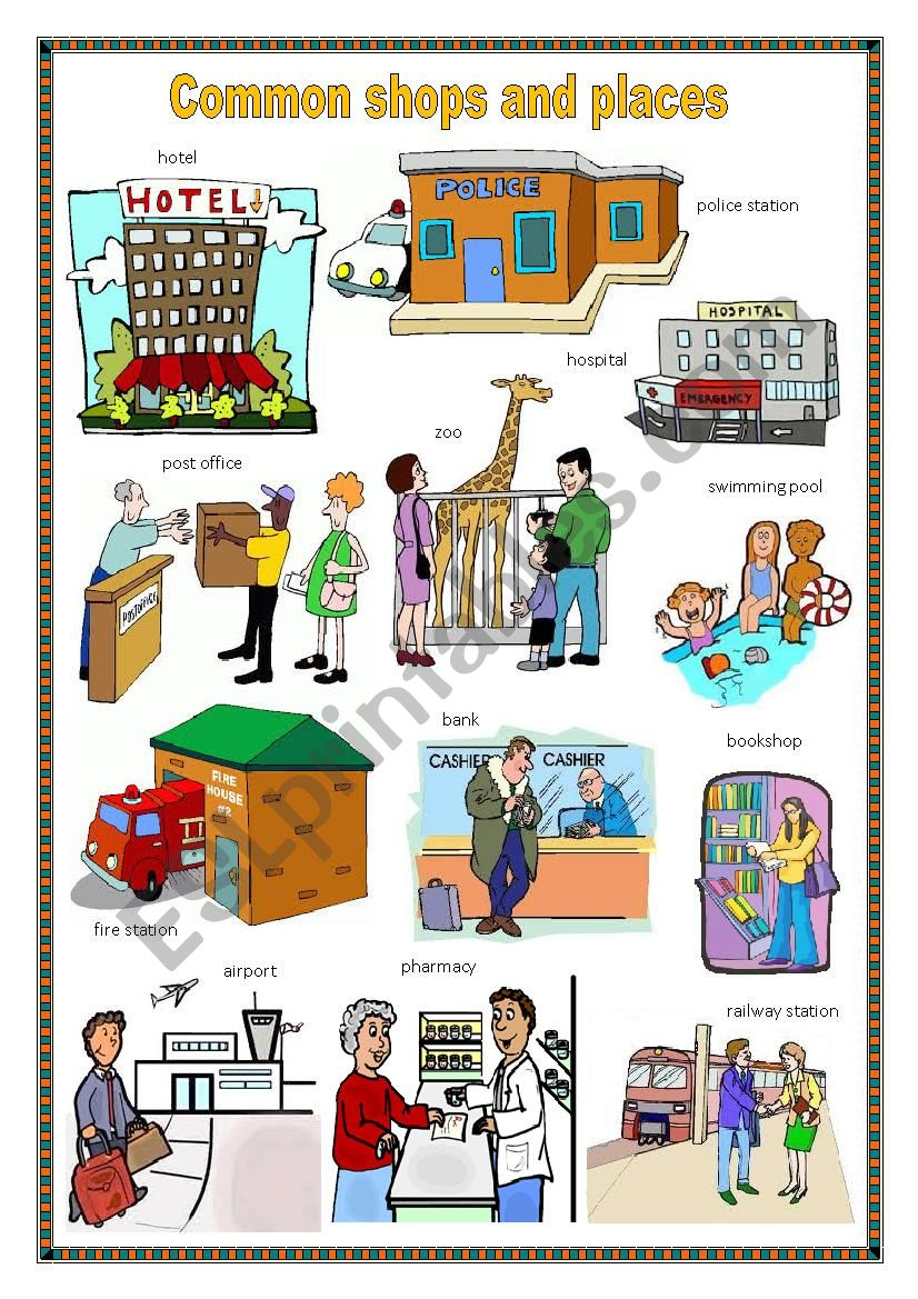 Common shops and places 1. worksheet