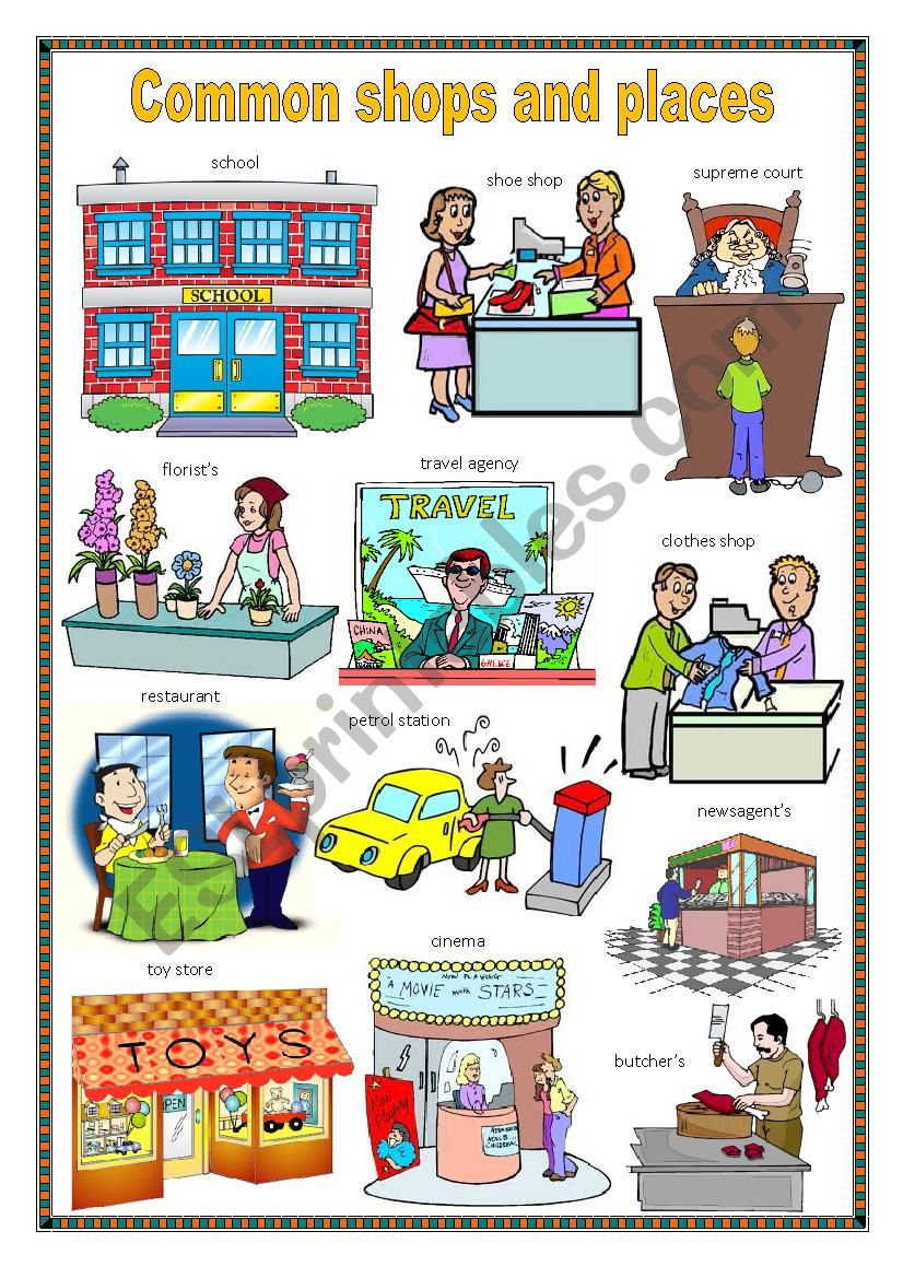 Common shops and places 2. worksheet