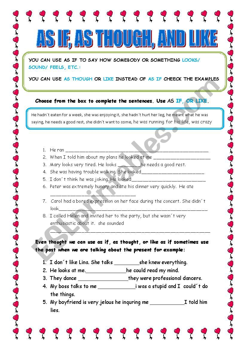 AS IF, AS THOUGH, LIKE - ESL worksheet by lelany
