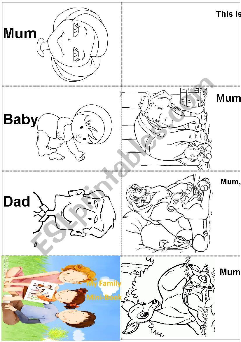 Family Members - Mini Book worksheet