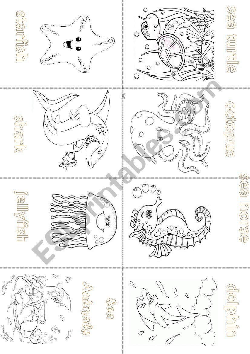 Sea Animals - Mini Book worksheet