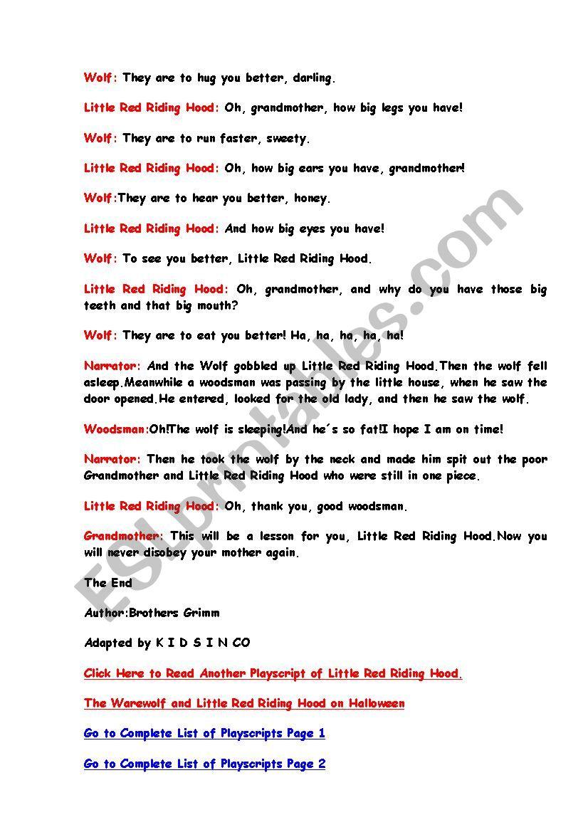 Little Red Riding Hood Children Plays Esl Worksheet By Jooblack