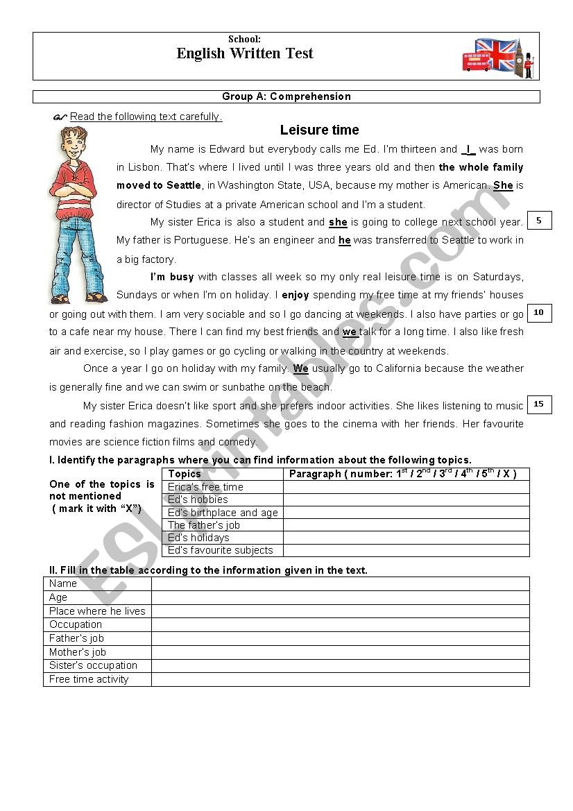Test _ Leisure Time worksheet