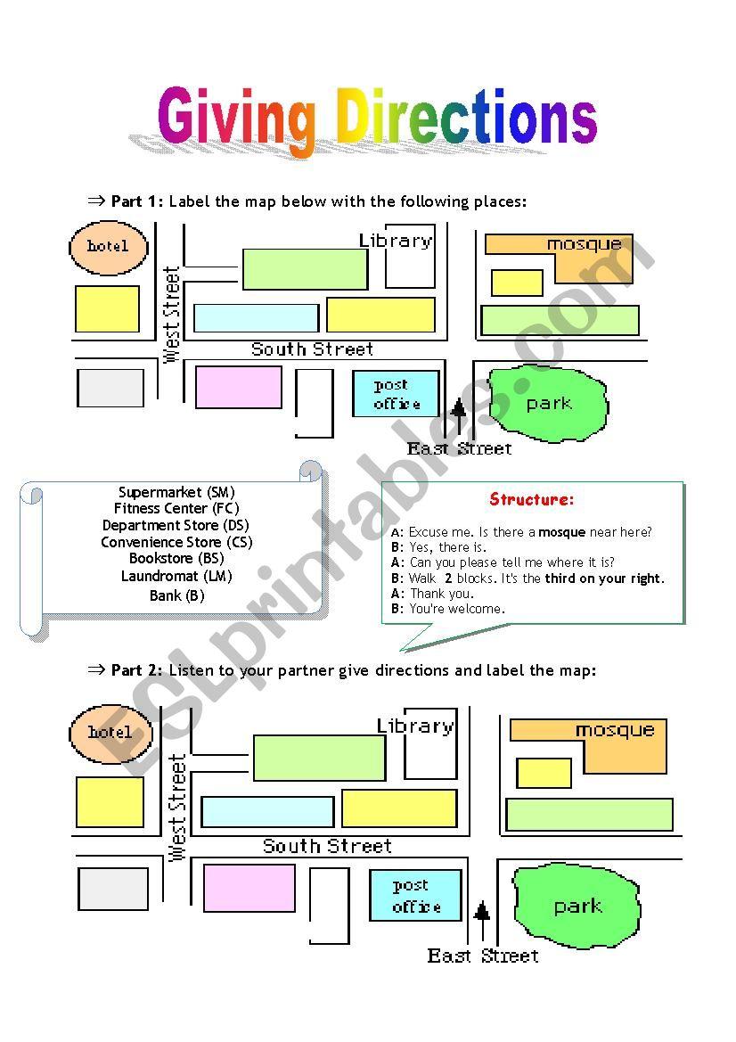 Giving Directions-Pairwork worksheet