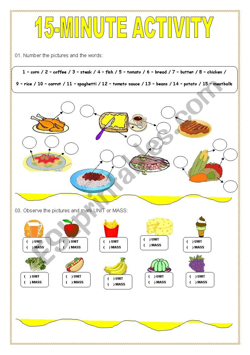 15-minute activity worksheet