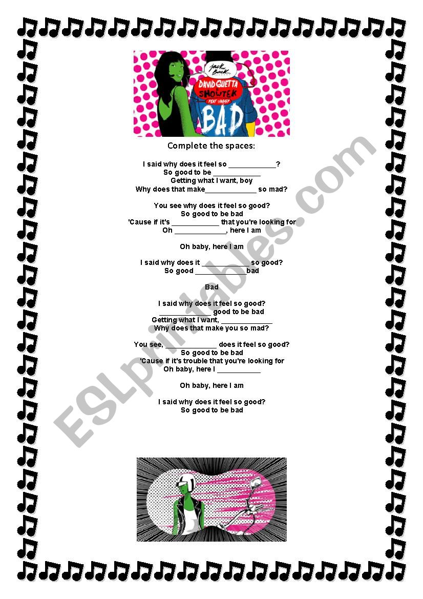 Bad- David Guetta worksheet