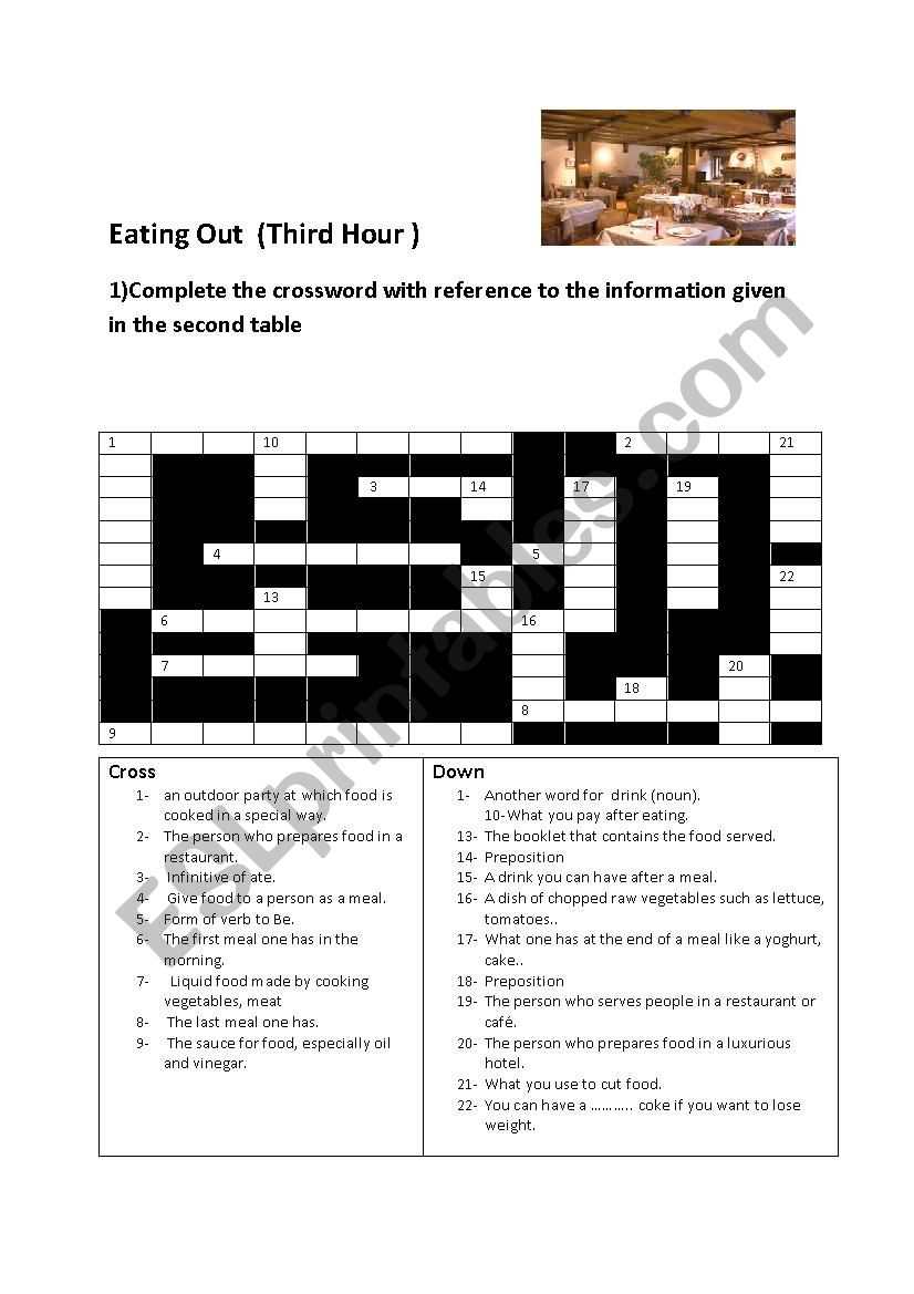 Eating Out ( Group Session) worksheet