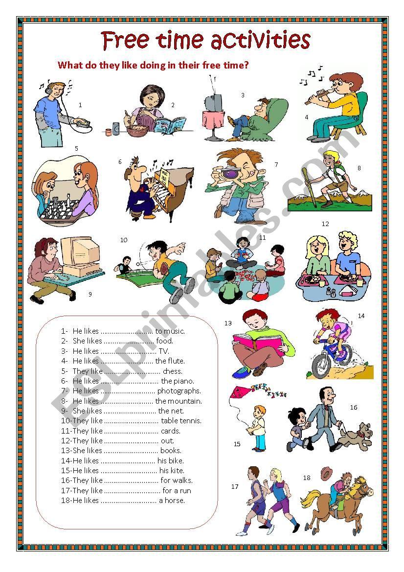 Free time activities. worksheet