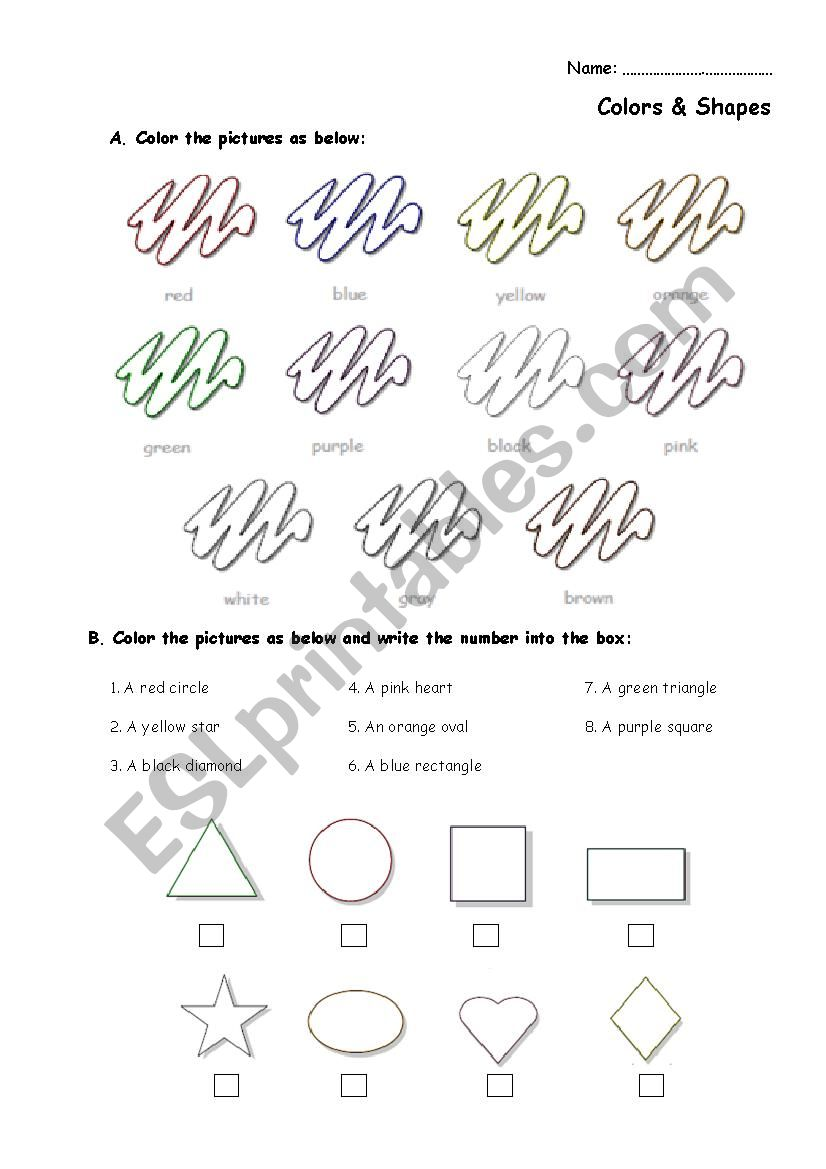 Colors Testing worksheet