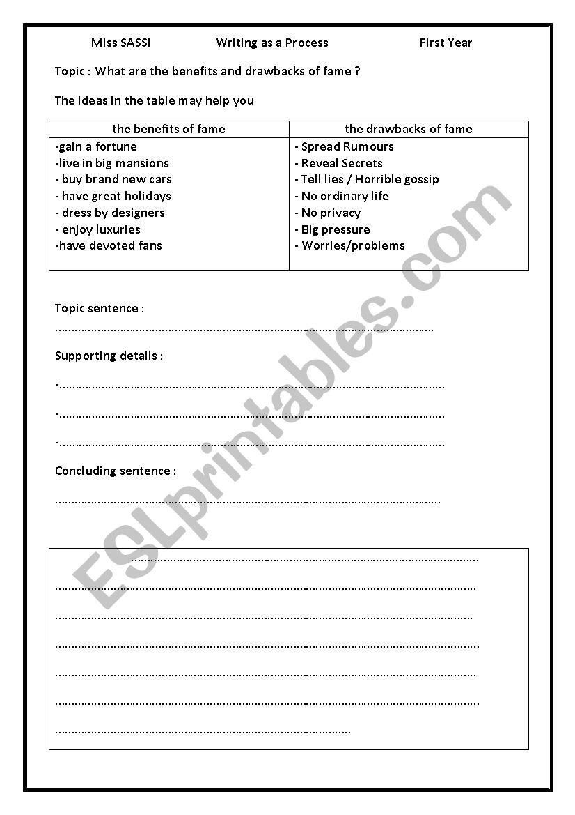 WRITING FAME worksheet