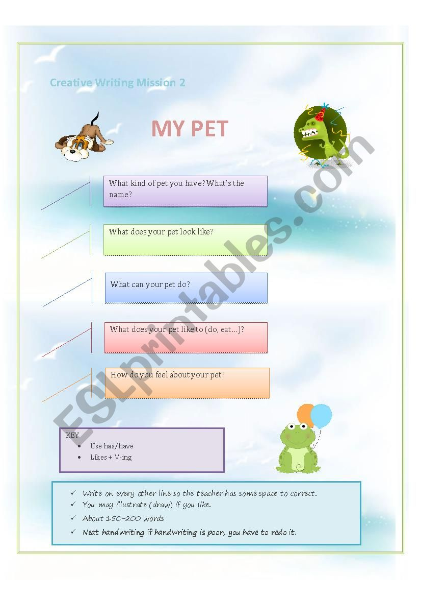 Creative Writing ( My Pet) worksheet