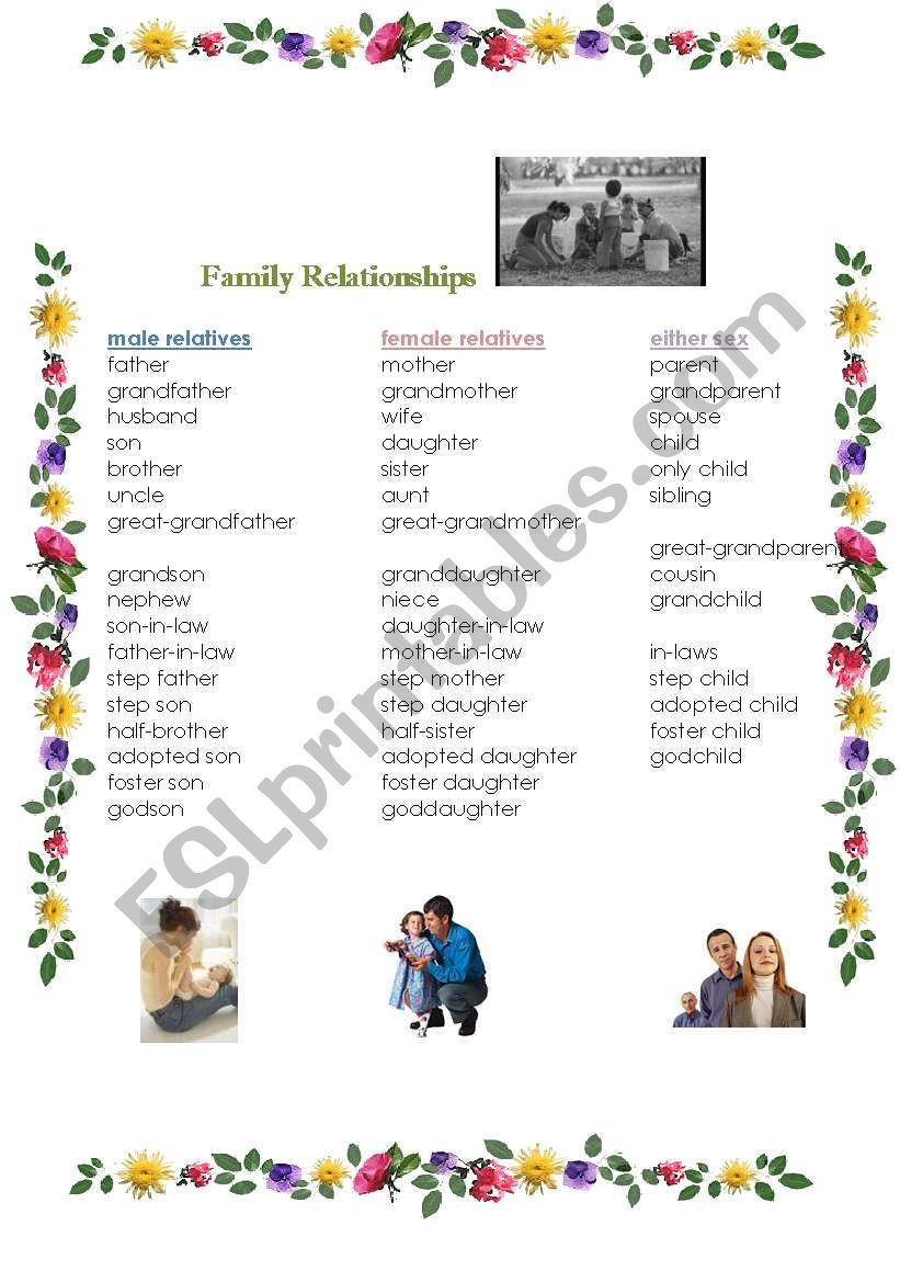 Family relationships worksheet