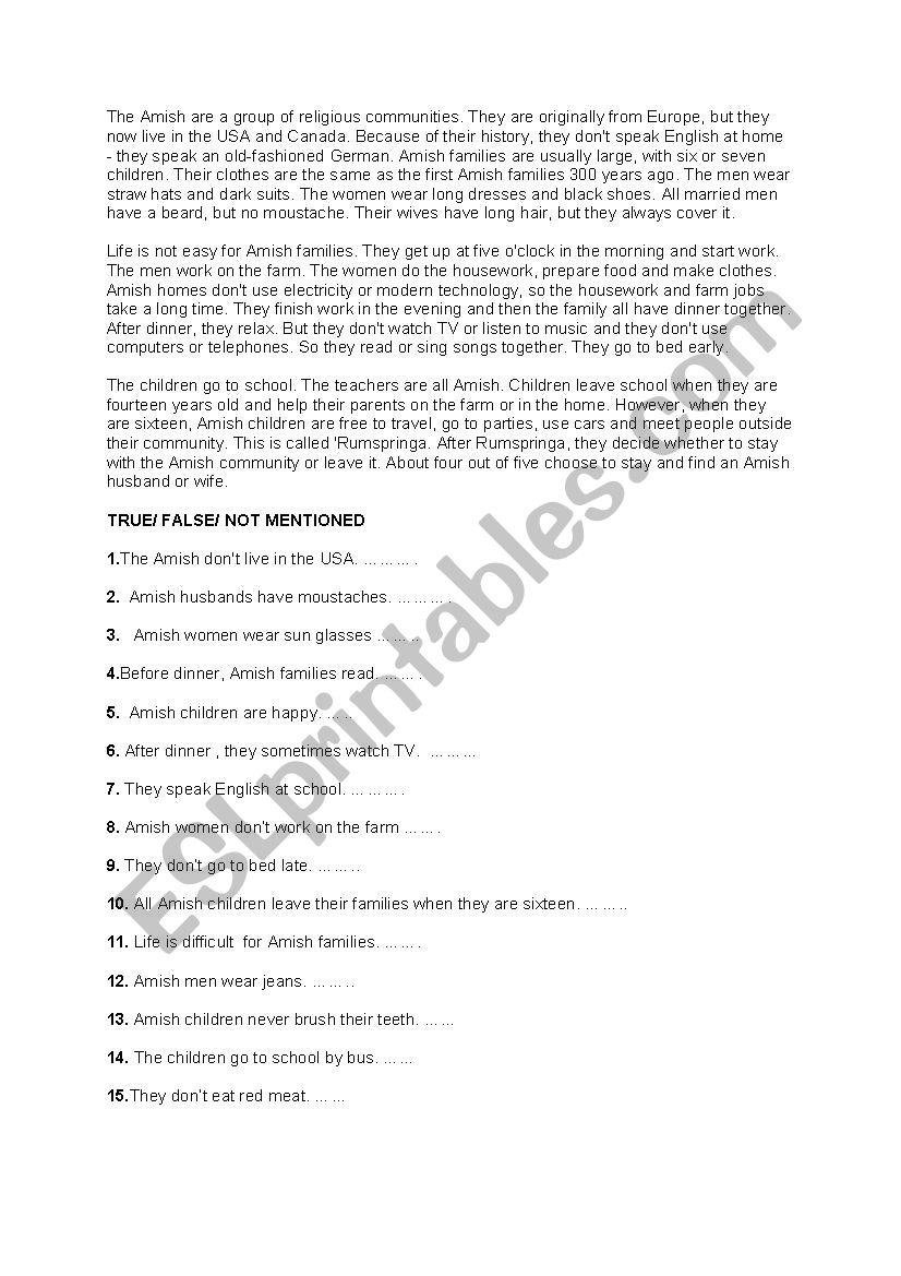 The Amish 2 worksheet