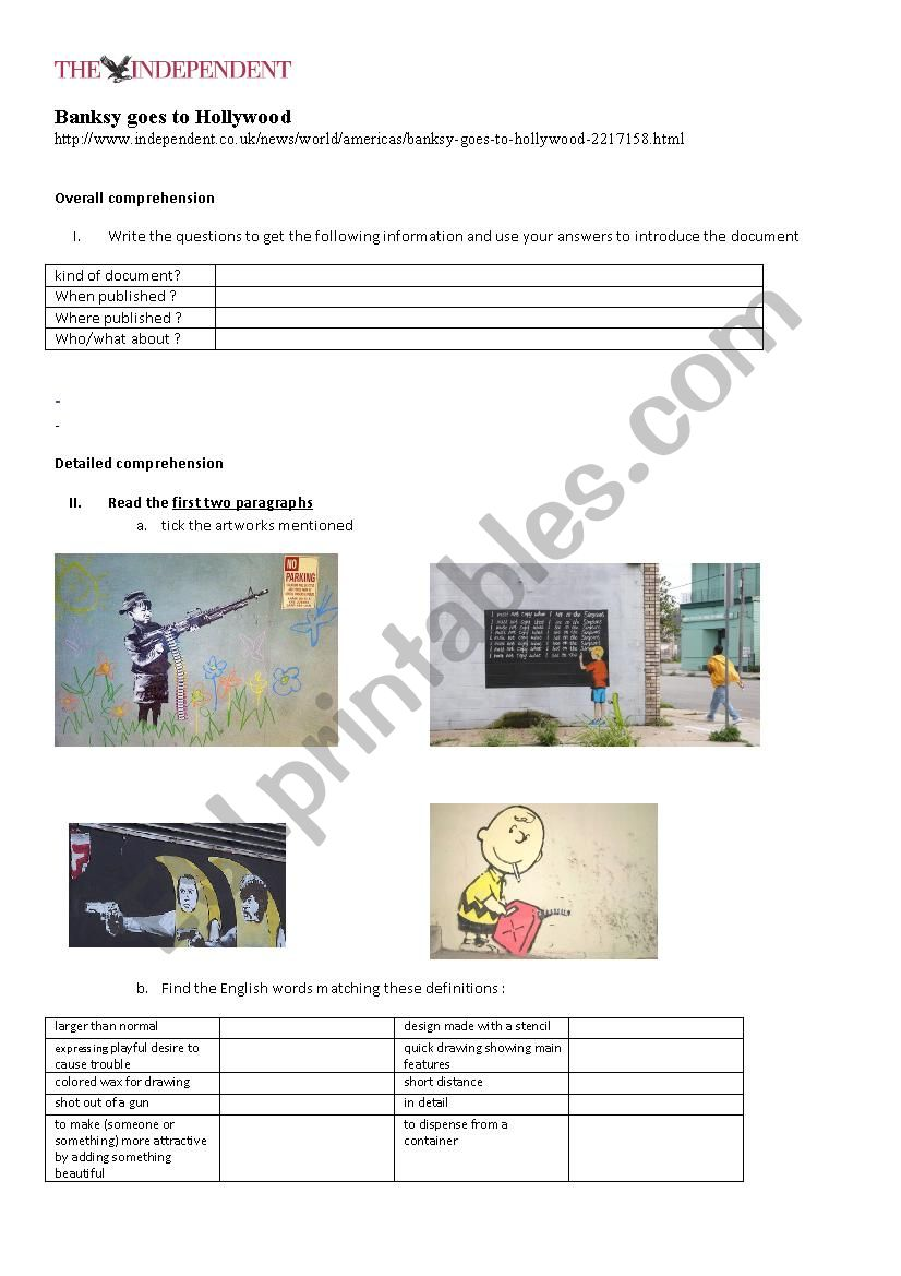 Banksy goes to Hollywood worksheet