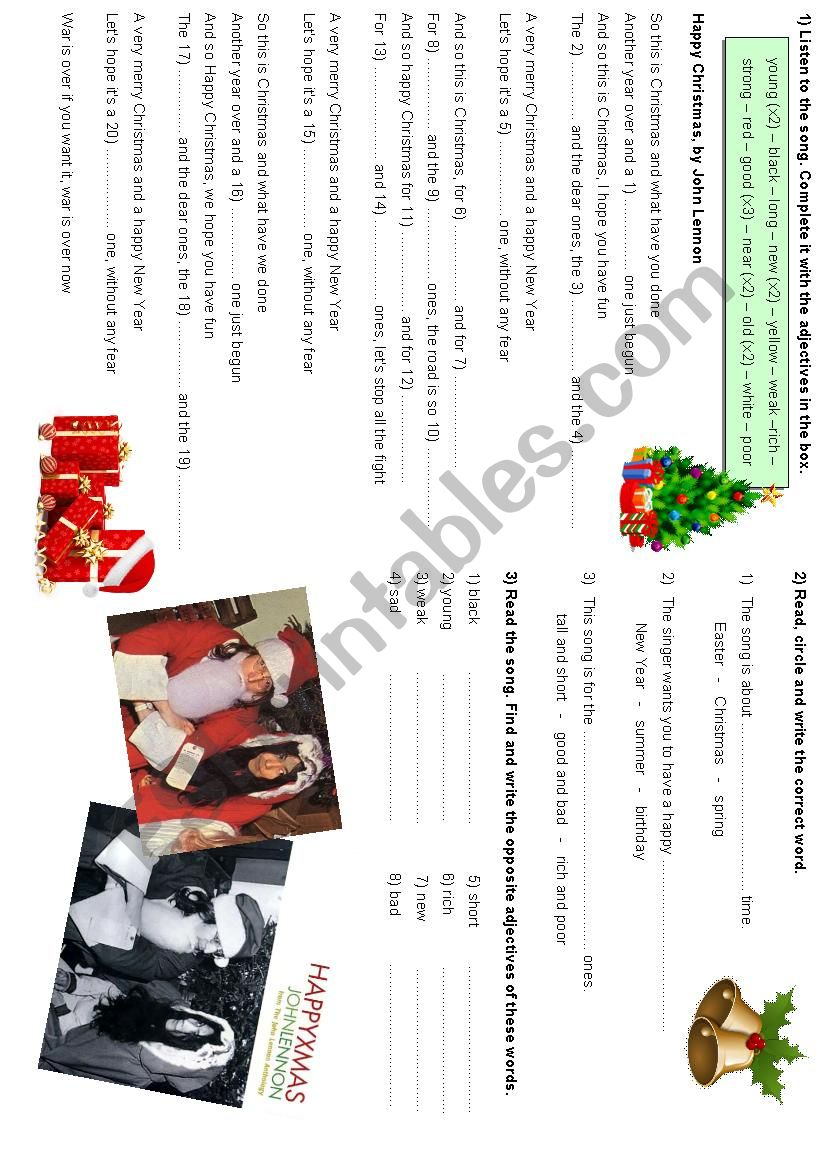 Happy Christmas song by John Lennon - ESL worksheet by danisole2