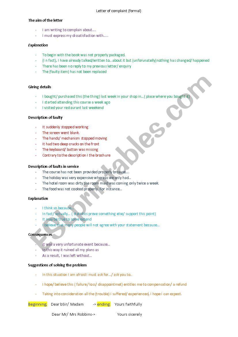 letter of complaint worksheet