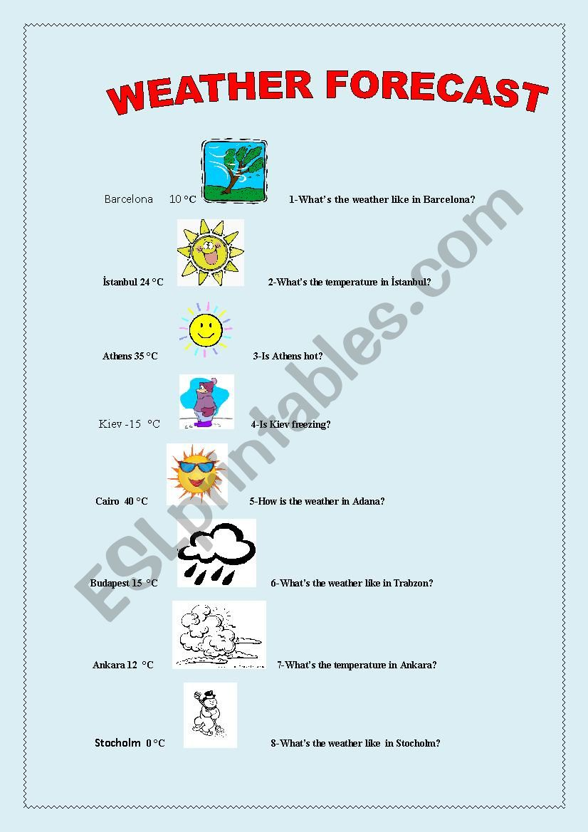 WEATHER FORECST worksheet