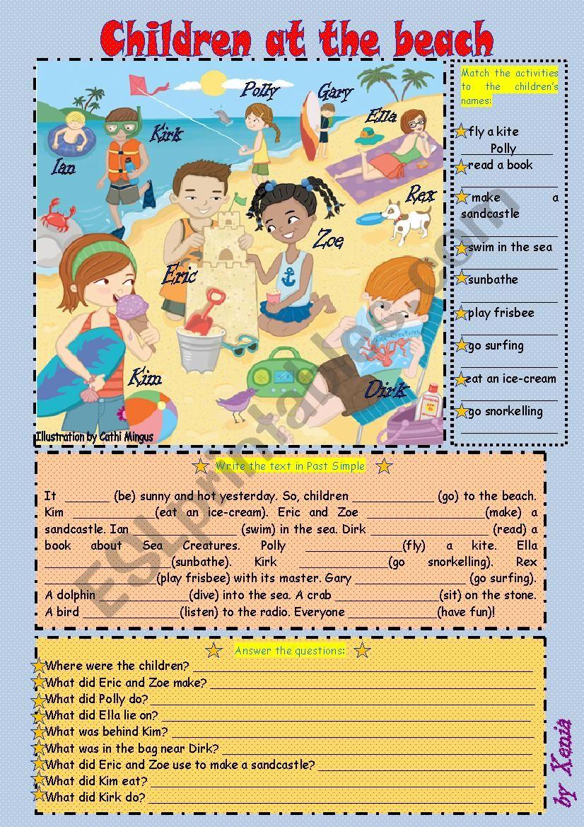 Children at the Beach worksheet