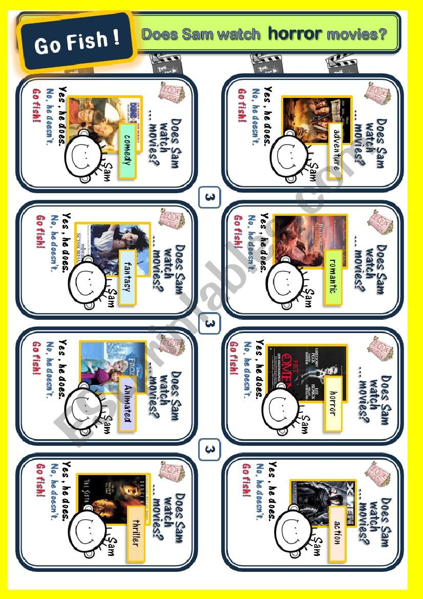 Movie Genres 4) Game cards for Go Fish(p3,4)*Target language*Does Sam watch...movies?