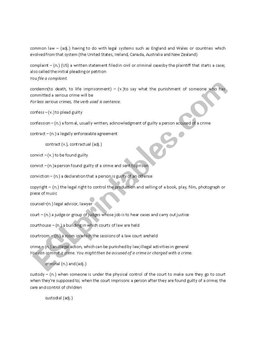 LAW VOCABULARY - C - ESL worksheet by xlkx