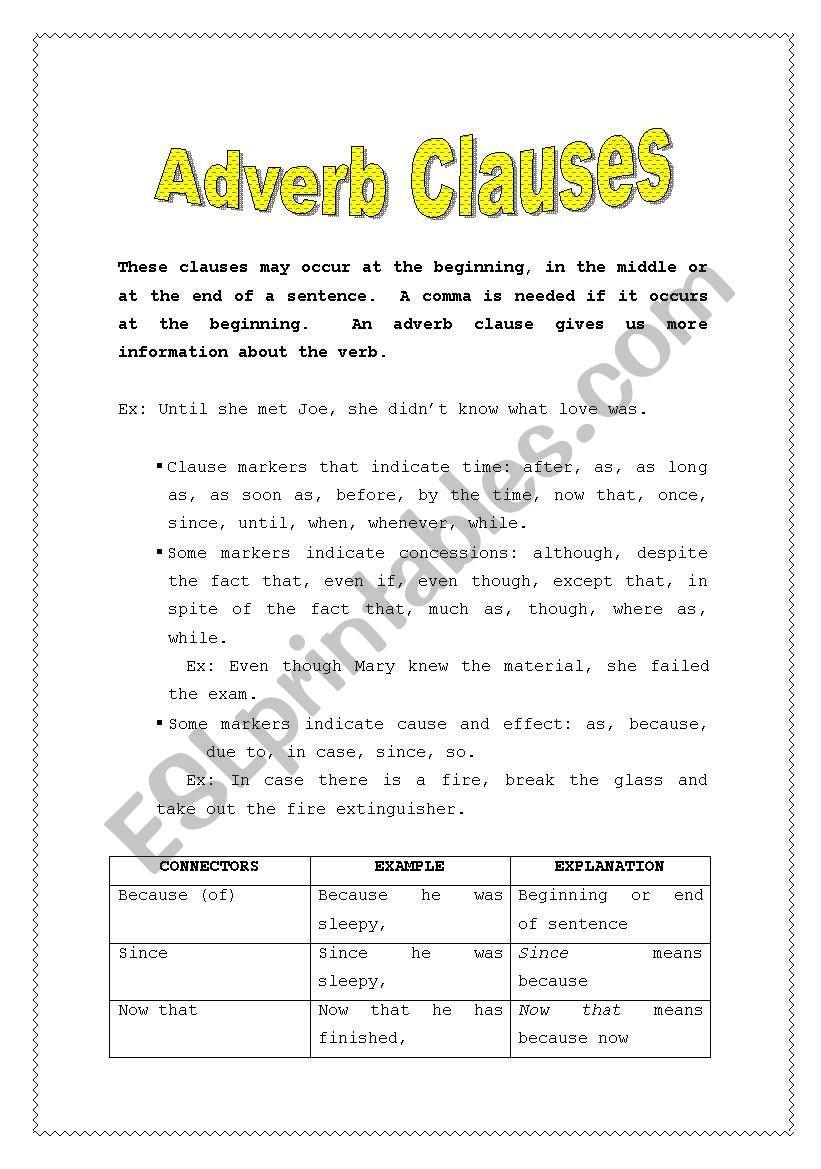 Adverb Clauses Esl Worksheet By Lizgc7