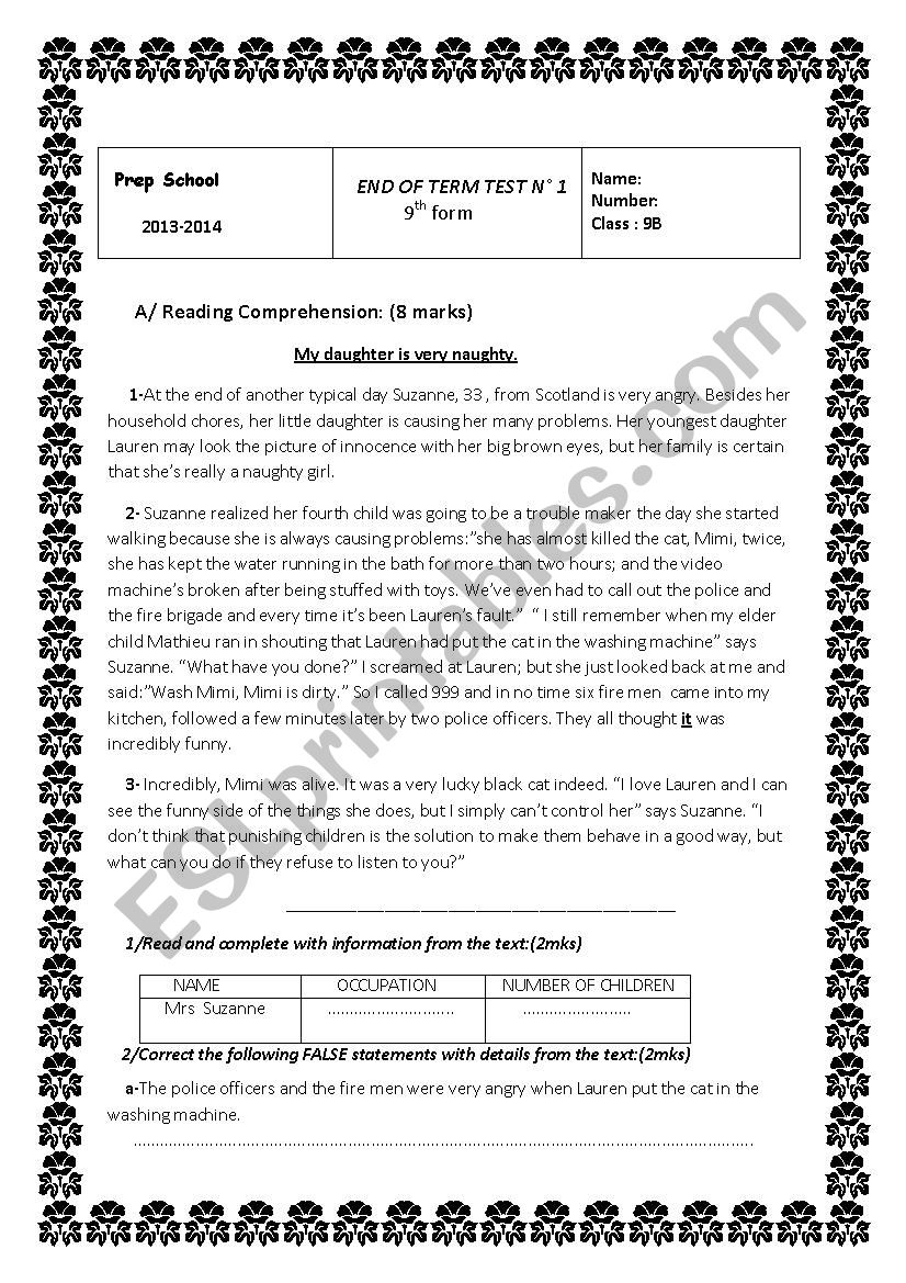 End of term test n 1 9th form worksheet