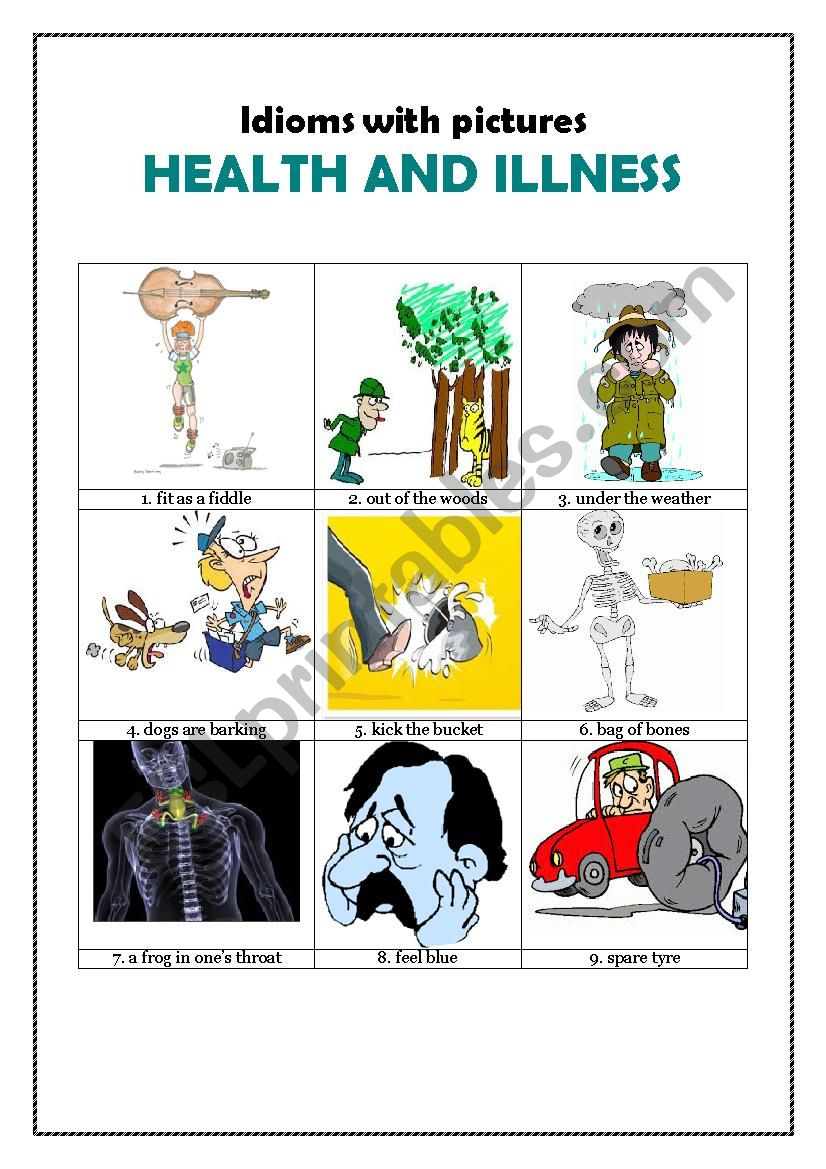 Idioms with pictures: HEALTH AND ILLNESS