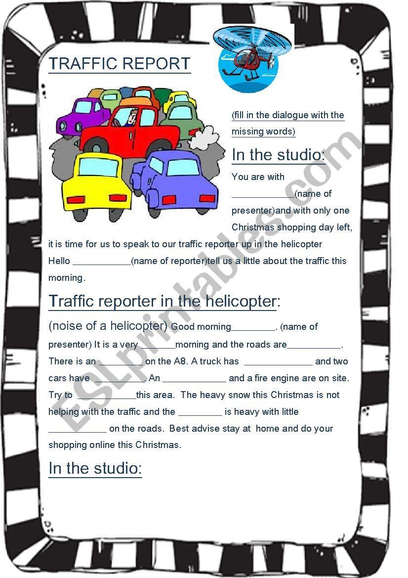 Traffc report worksheet