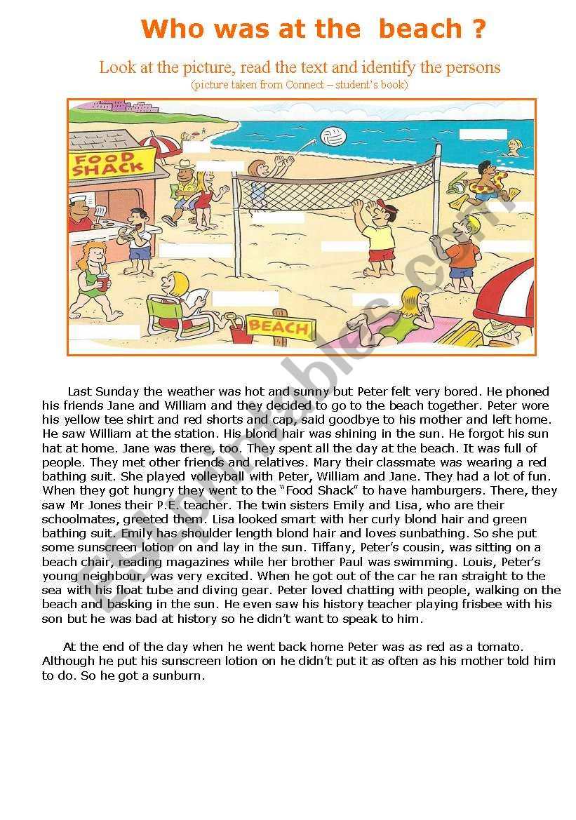 Who was at the beach? worksheet
