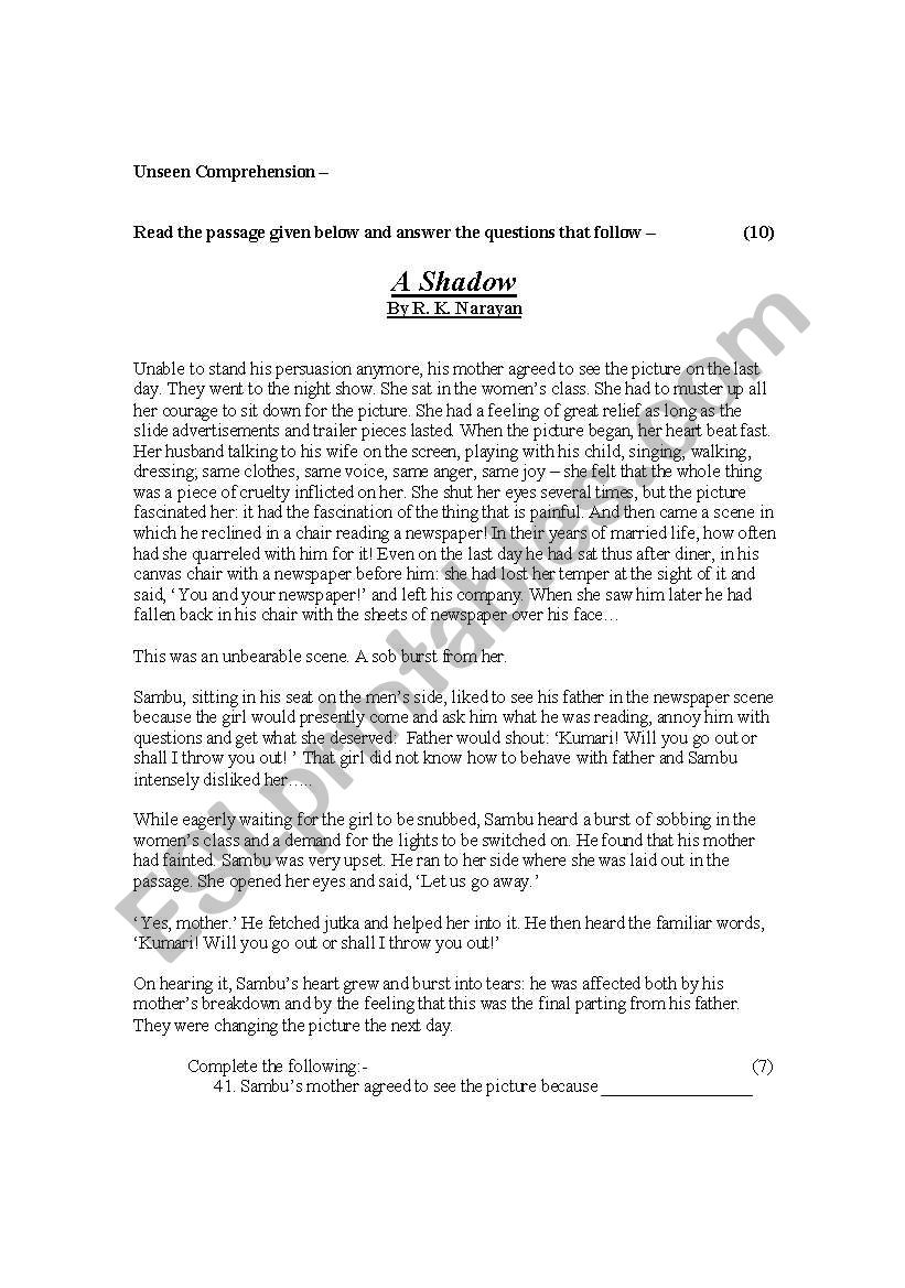 - English Worksheets: Unseen Comprehension