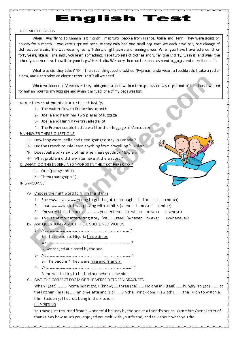 English Test (Exam) worksheet