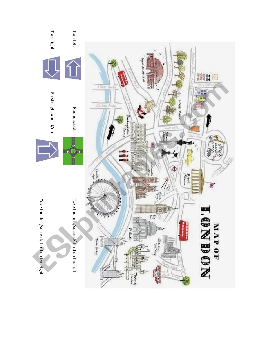 London Map Directions.Giving Directions Lost In London Esl Worksheet By London60