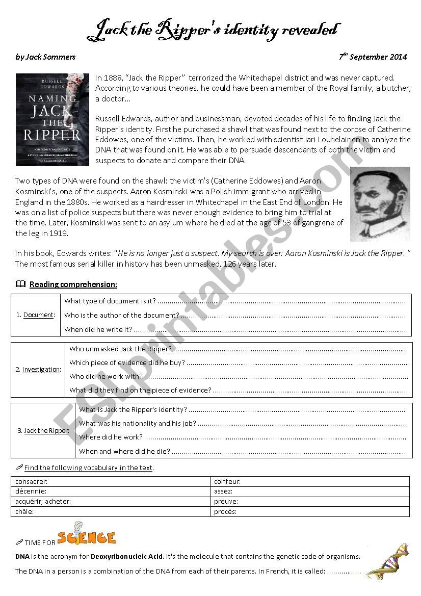 Reading comprehension Jack the Ripper´s identity revealed