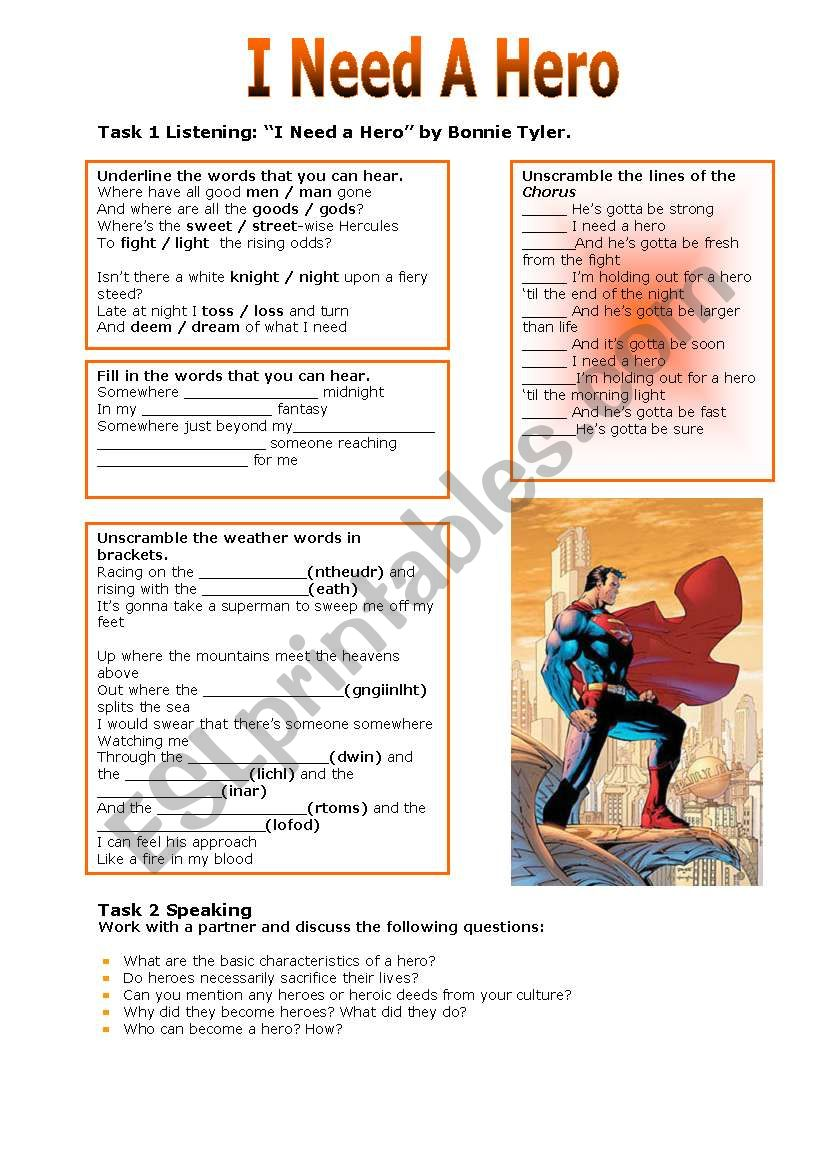 I Need A Hero worksheet