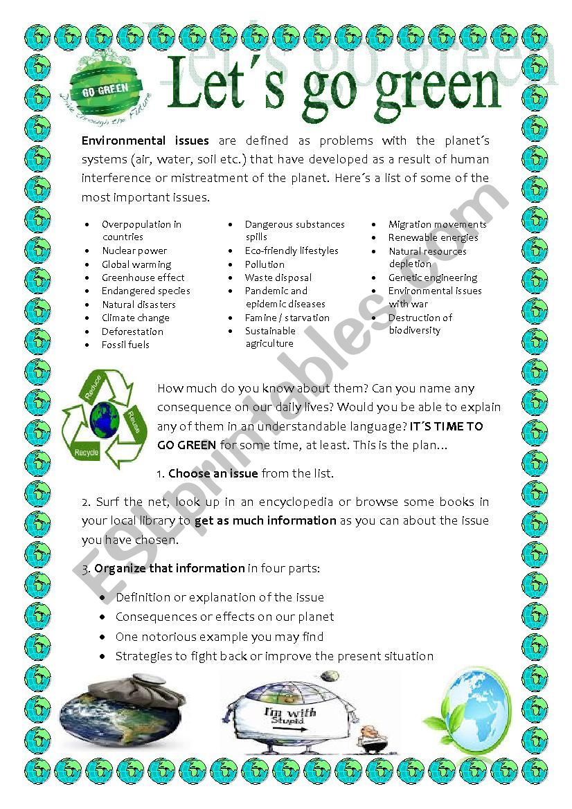 ENVIRONMENTAL ISSUES PROJECT worksheet